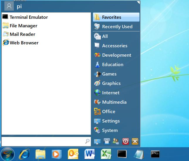 Menu système du thème Twister OS Windows 7