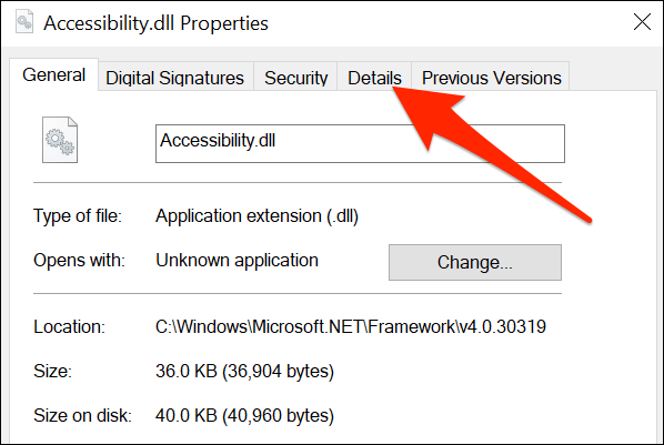 """Click the """"Details"""" tab for the """"Accessibility.dll"""" file."""