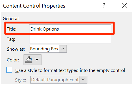 """Select """"Title"""" on Word's """"Content Control Properties"""" window."""