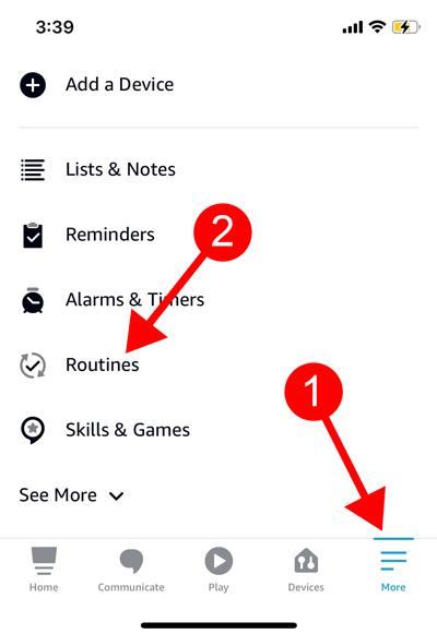 Alexa app more tab