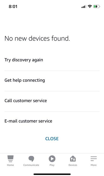 Alexa устройства не найдены