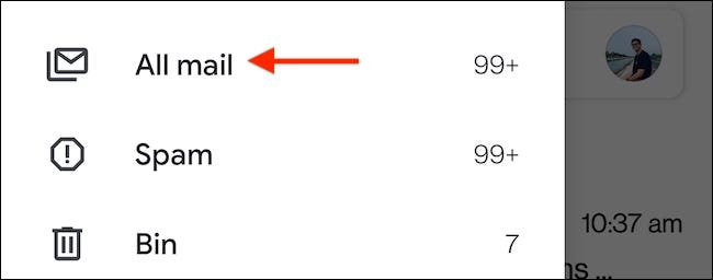 """Select the """"All Mail"""" label from the Gmail sidebar to view all emails in the mobile app."""