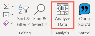 Click Analyze Data on the Home tab