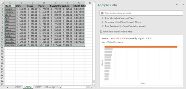Analyze Data Task Pane in Excel