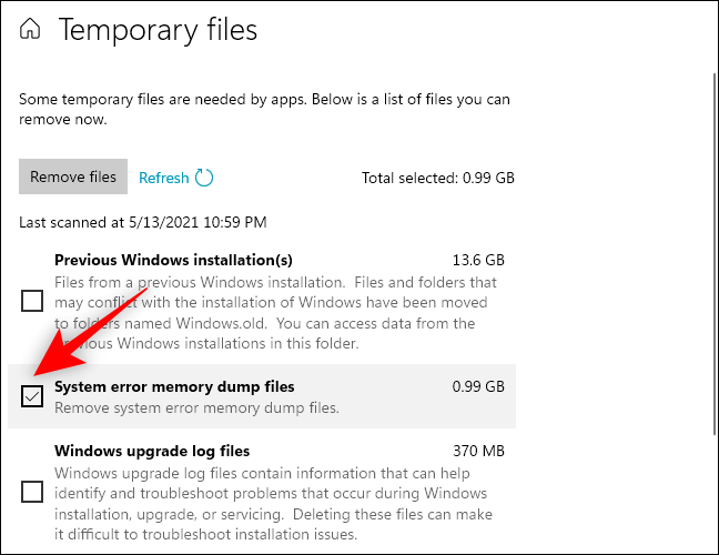 Check box for system error memory dump files already selected in Storage Settings