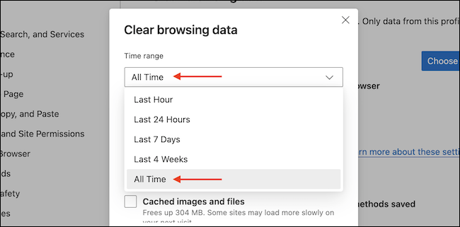 Select the time frame for which you want to clear the browsing data.
