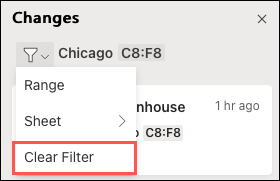 Select Clear Filter