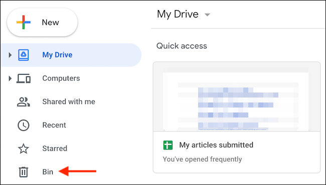 """Go to the """"Bin"""" section in the Google Drive sidebar."""
