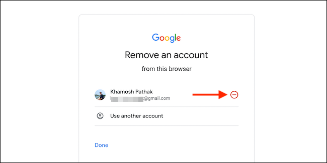 Click the red Minus (-) button next to the account that you want to remove.