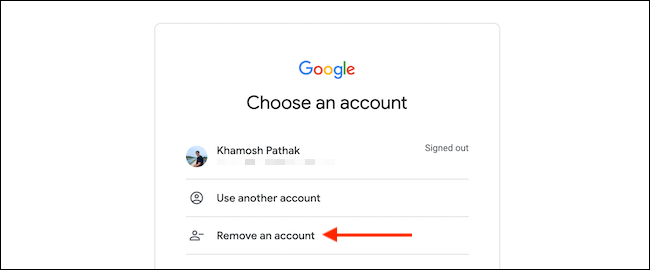 """Click """"Remove an Account"""" from the accounts screen."""