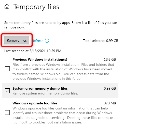 Click Delete Files button to remove system error memory dump files from your computer