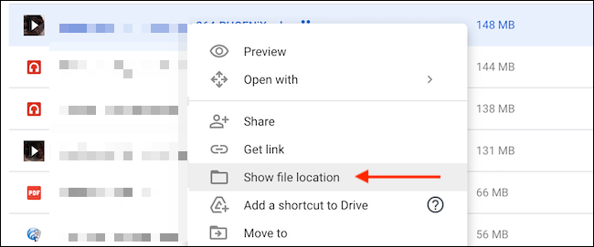 """To find the location of a file, click """"Show File Location"""" in the right-click menu."""