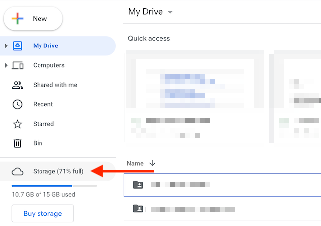"""In the Google Drive sidebar, choose the """"Storage"""" option."""