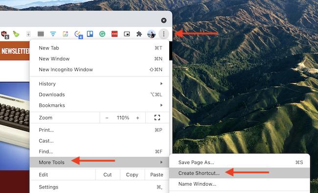 From Chrome's toolbar, select Menu > More Tools > Create Shortcut.