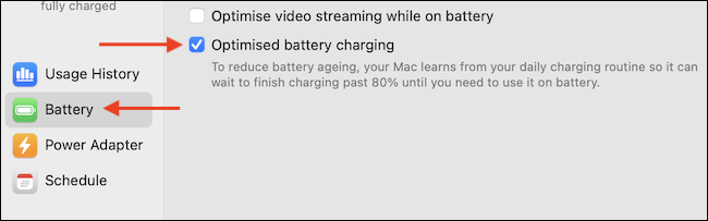 """Uncheck the """"Optimized Battery Charging"""" feature from the """"Battery"""" section."""