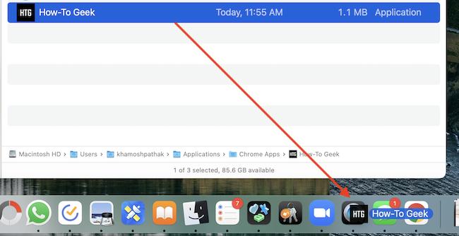 Перетащите приложение из папки Chrome Apps в Dock.