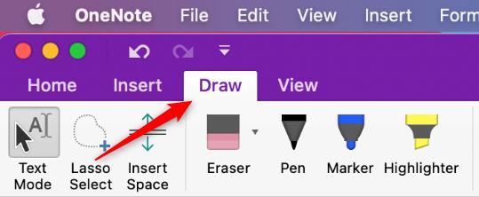 Draw tab in Microsoft OneNote for Mac
