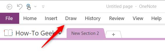 Draw tab in Microsoft OneNote