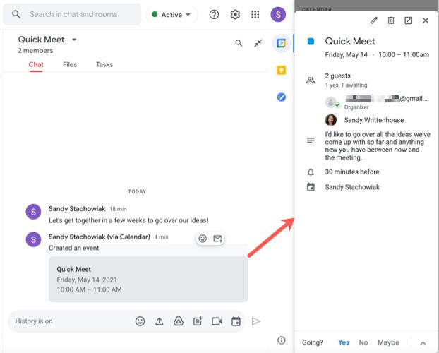 Modifier un événement programmé dans Google Chat