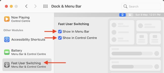 Включите функцию быстрого переключения пользователей для панели меню и Центра управления.