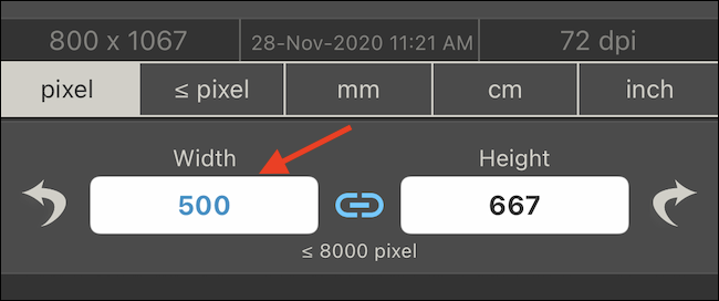 Enter the width or the height for the image you want to resize.