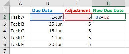 Enter the adjustment sum formula