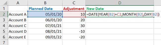 Enter the adjustment function