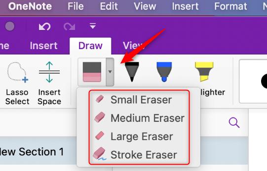 Eraser options on Mac