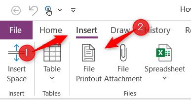 File printout option in Microsoft OneNote