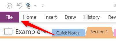 File tab in Microsoft OneNote
