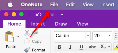 File tab in OneNote for Mac