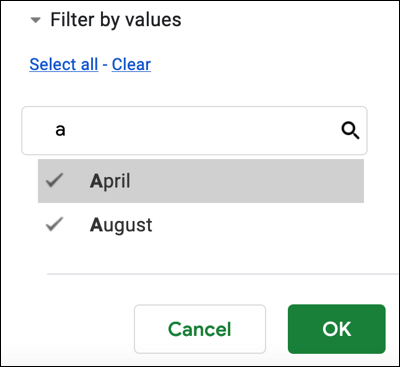 Search for a filter value and click OK