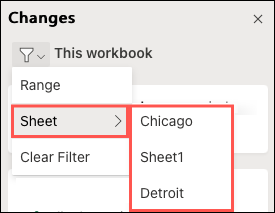 Select a Sheet to filter