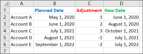 Adjusted new dates