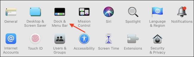 """Перейти к """"Док и строка меню"""" из приложения Системные настройки."""