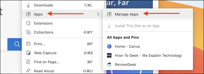 From the Menu in Edge, go to Apps > Manage Apps.