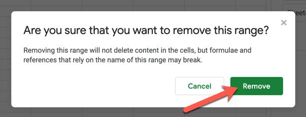 """Чтобы подтвердить удаление сохраненного диапазона имен, нажмите кнопку """"Удалять"""" во всплывающем меню."""