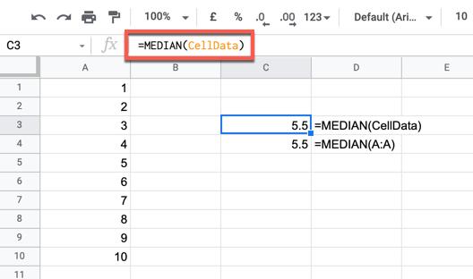 Пример формулы MEDIAN с использованием именованного диапазона.