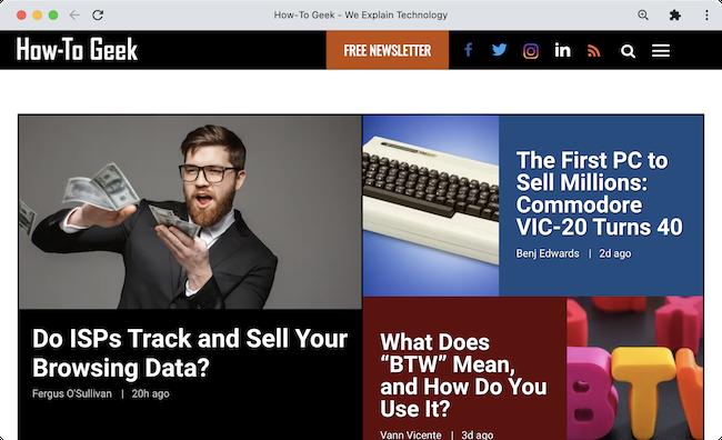 Веб-сайт How-To Geek, работающий как приложение в собственном окне с помощью Chrome.