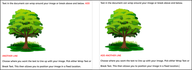 Image locked on page in Google Docs