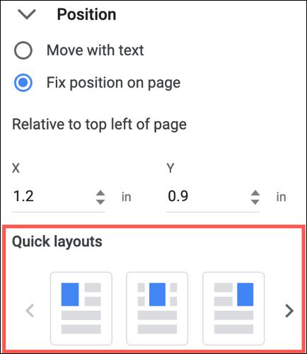 Quick Layouts in Google Docs