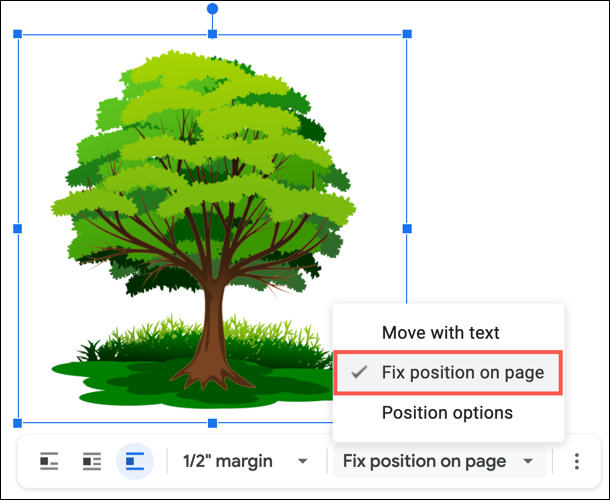 Select Fix Position on Page