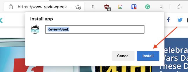 """Нажмите """"Установить"""" из всплывающего окна, чтобы установить веб-сайт как приложение."""