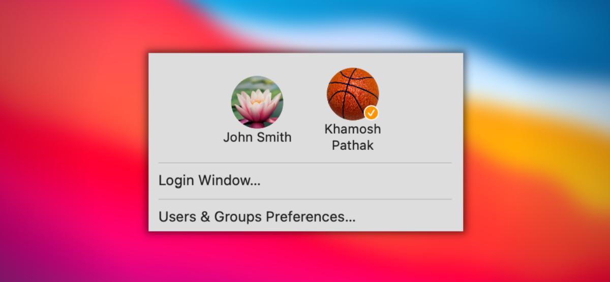 Пользователь Mac переключается между учетными записями пользователей из строки меню.