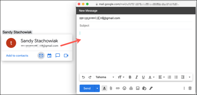 Mentioned user email opens Gmail