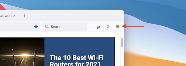 Click the three-lined Menu button in Firefox toolbar.