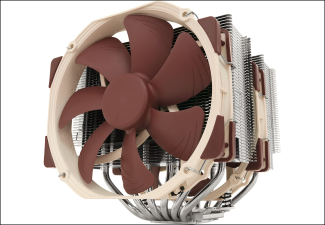 A brown Noctua air cooler with fans and massive silver heatsinks.