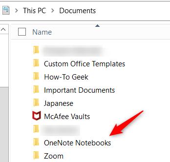 OneNote Notebooks folder