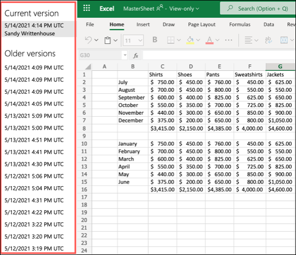 Previous Versions in Excel for the Web