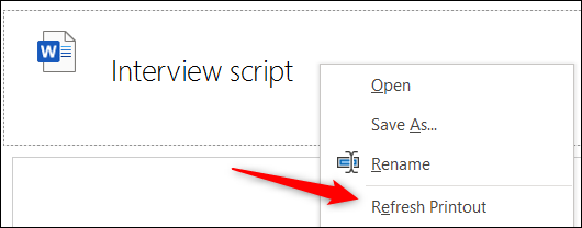 Refresh printout option